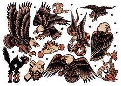 Sailor Jerry eagle tattoos, traditional eagle