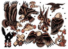 Sailor Jerry eagle tattoos, traditional eagle