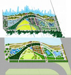 waterfront park Masterplan and CG Landscape Plane, Landscape Concept, Landscape Drawings, Hotel Design Architecture, Masterplan Architecture, Lanscape Design, Plan Sketch, Urban Park, Parking Design