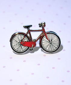 Our Enamel Bicycle Pin, now available in Red. Could make a cute Valentine's Day gift just sayin'