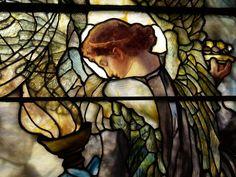 Description: Richmond, Virginia (VA): St Paul's Episcopal Church: The Angels of Goodness and Mercy (Jefferson Davis window), detail (installed 1898, Tiffany Studios, designer Frederick Wilson)