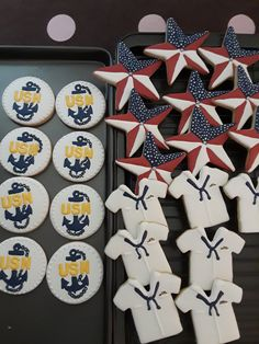Iced Sugar Cookies, Royal Icing Cookies, Military Cupcakes, Us Navy Party, Military Send Off Party Ideas, Navy Cupcakes, Camping Cookies, Cupcake Queen, Going Away Parties