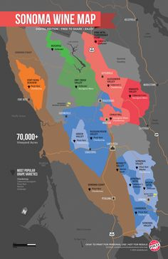 Get to know the Sonoma wine region with this easy map! There are so many amazing places that make a diverse range of wine. Now when you pick up that wine bottle, you'll know what the region is. Boot Camp, California Wine, Sonoma California, Danville California, Sonoma Valley, Napa Valley Map, Wine Folly, Sonoma Wine Country, Wine Education