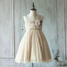 2016 Beige Junior Bridesmaid Dress, Sweetheart neck Ruched Flower Girl Dress, Rosette dress, Puffy dress, knee length (JK010)