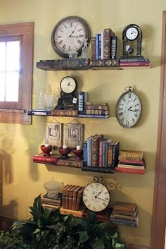 Book Shelves - literally~ Itsy Bits and Pieces: Bachmans Fall Ideas House 2011 Home Design, Design Design, Old Clocks, Vintage Clocks, Book Wall, Deco Originale, Wall Decor, Wall Art, Clock Decor