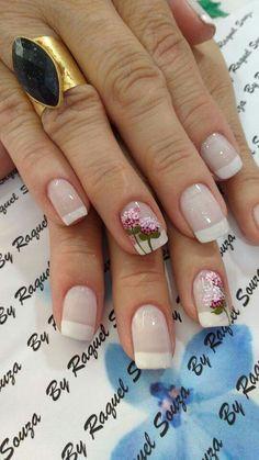 . Nailart, Nail Designs, Roses, Beauty, Flower Nails, White Nail Beds, Nail Colors, Bridal Nail Design, Elegant Nails