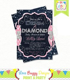 Denim and Diamonds Baby Shower Invitation  by lovebuggydesigns