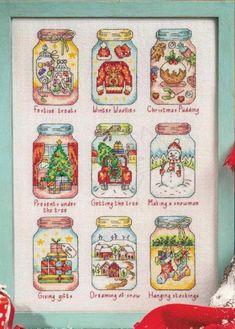 Christmas in a jar Xmas Cross Stitch, Cross Stitch Christmas Ornaments, Christmas Embroidery, Christmas Cross, Cross Stitch Charts, Counted Cross Stitch Patterns, Cross Stitch Designs, Cross Stitch Embroidery, Embroidery Patterns