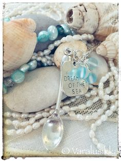Silver plated necklace with aquamarines, jades, and frosted aqua blue glass beads Silver plated chain ca. Aqua Marine, Aqua Blue, Spoon, Glass Beads, Pearl Necklace, Jewelry Making, Romantic, Sea, Jewellery