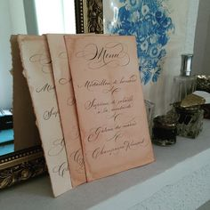 Studio French Blue #french #menus #calligraphy Paper stained with coffee and beet juice.