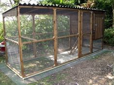Here's a simple chicken coop with metal roof.