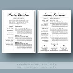 Application Templates For Word Impressive Elegant Cvresume Template Job Application Template  Etsy Gifts .