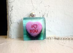 Valentines Necklace  Pink Candy Heart  I Love You  by jojolarue, $10.00