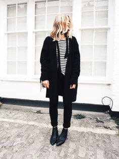 Bloglovin Blog Cozy Cool Winter Style Stripes Striped Tee Skinny Scarf Black Coat Cuffed Jeans Acne Jensen Ankle Boots Via Mija Flatau