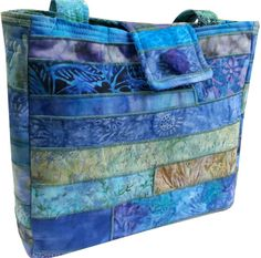 Large Purse in Shades of Blue Batik by Sieberdesigns on Etsy