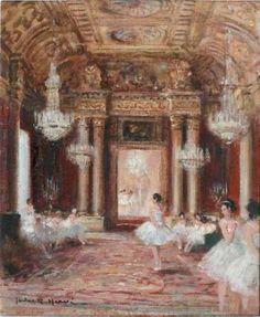 Jules René HERVÉ (1887-1981)  Ballerines au foyer de l'Opéra Huile sur toile, s