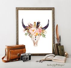 Bull Skull Wall Decor bull skull, printable art, cow skull, tribal art ,boho, wall print