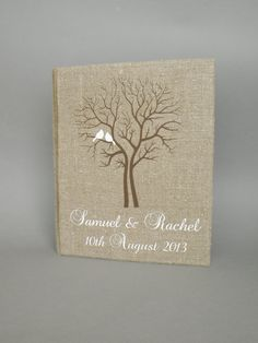 Wedding rustic old style photo album or scrapbook burlap Linen Bridal shower anniversary White birds and names and brown tree on Etsy Wedding Photo Books, Wedding Photo Albums, Wedding Photos, Wedding Cake Accessories, Tree Themed Wedding, Wedding Scrapbook Pages, Outdoor Wedding Inspiration, Picture Albums, Sympathy Cards