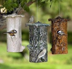 Ceramic Tree Trunk Bird Feeder~ The brown one looks real!