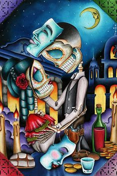 Masquerade by Dave Sanchez Skeleton Sugar Skull Lovers Paper Art Print