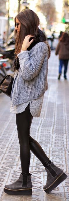 #fall #fashion / knit layers + leather