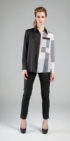 Camisa: Gloss Span e Transparência Silky Estampada /// Calça: Indileather® Square 10,5 oz  #acetinados #camisaria #estamparia #projetosespeciais  #jeanswear #aspectosdecouro #texturas #stripes #movimentosilencioso #indileather®