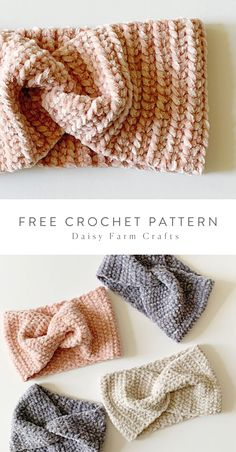 Free Pattern - Crochet Velvet Twist Headband I love a project I can make in a few hours that also looks expensive and luxe! This Bernat Baby… Crochet Ear Warmer Pattern, Crochet Headband Pattern, Crochet Hooks, Knit Crochet, Crochet Beanie, Crochet Ear Warmers, Crochet Winter, Crochet Stitches, Crochet Baby