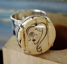 Photographer Girl Silver Ring - Adjustable Cork Jewelry, Then She Snapped, Wood Cube, Girl Gift, Recycled, Lens, Hammered Silver - Uncorked