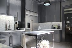 Grey and marble kitchen.