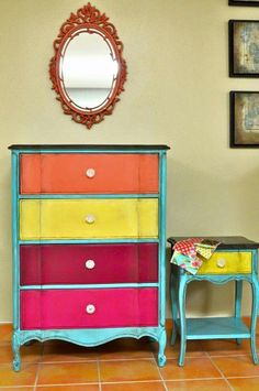 Bright Colored Dresser Painted Furniture