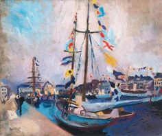 The Empavesado yacht, Raoul Dufy Medium: oil,canvas Raoul Dufy, Sailing Ships, Canvas, Painting, Posts, Stained Glass, Impressionism, Scenery, Art