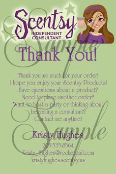 Scentsy Consultant Thank You Customer Card Custom Printable