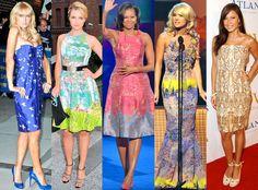 Carrie Underwood, Dianna Agron, Michelle Obama, Paris Hilton, Vanessa Minnilo wear Tracy Reese