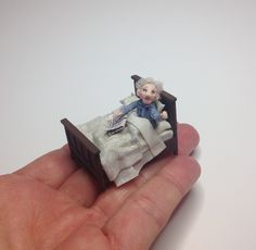 Miniature 1/4 1:48 Quarter Inch Scale Part Posable Man Dad Adult Grandad Gentleman in a Tudor Double Bed Dollhouse Art Doll Handmade OOAK by IckleFingz on Etsy