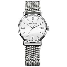 Buy Maurice Lacroix EL1084-SS002-111 Women's Eliros Mesh Bracelet Strap Watch, Silver/White Online at johnlewis.com