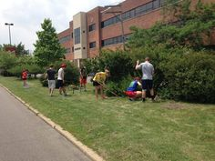 A group from Catholic HEART Workcamp is spending the week volunteering at Focus: HOPE. Today they spent their day doing some landscaping work on Oakman Blvd. Thank you for all your hard work!