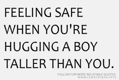 hugging a boy taller than you