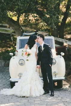 Bride and groom with retro getaway car | Vera Wang | Dior Homme | Coordinator, M.D. | Bash Please | Onelove Photography | http://knot.ly/6494BZvep
