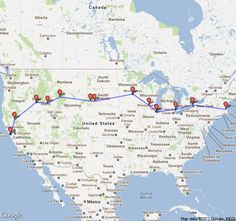 3700 miles from Boston to San Francisco - several National Parks on the road.