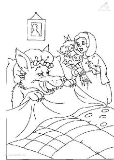 Little Red Riding Hood Coloring Page Disney Coloring Pages, Coloring Pages For Kids, Coloring Books, Types Of Embroidery, Hand Embroidery, Fairy Tale Activities, Three Little Pigs, Wolf, Red Hood