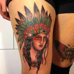 Indian-Woman-N-Butterfly-Tattoo-Design-Ideas-On-Thigh