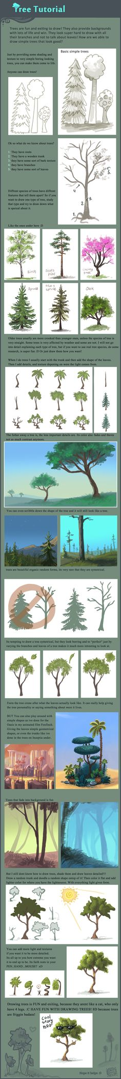 Tree tutorial by griffsnuff.deviantart.com on @deviantART  A guide on trees. Quite basic stuff, but then again, drawing trees with actual leaves is always something I have issues with. I need the help I can get.