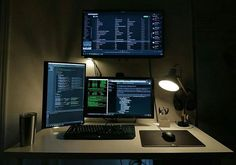 Nice coding setup!  Photo by: @jovl__  Dark theme is life // #canon #t6i #lightroom #setuptour #PC #setups