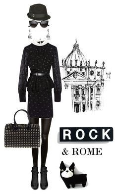 """""""Rock & Rome"""" by pensivepeacock ❤ liked on Polyvore featuring SPANX, Yves Saint Laurent, Jason Wu, Valentino, CZ by Kenneth Jay Lane, Vince Camuto and Cara Couture"""