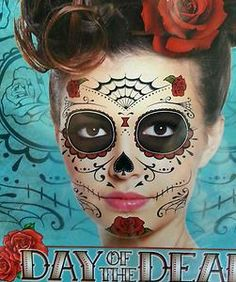 NOV2 Day of The Dead Dia de Los Muertos Full Face Temp Tatts Halloween Mexican | eBay