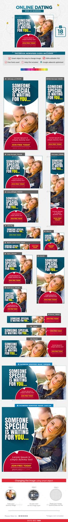 Online Dating Banners Template PSD #ads #promote Download here: http://graphicriver.net/item/online-dating-banners/16145592?ref=ksioks