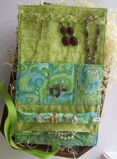 Jewelry Roll by GrammiesQuiltz....... Your Choice of Fabrics (Great Bridesmaid Gift) Personalization Available. $35.00, via Etsy.