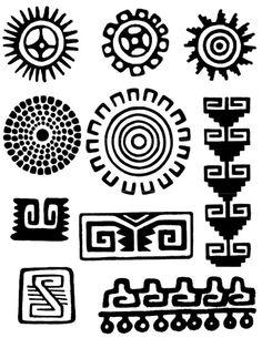 Risultati immagini per simbolos indigenas Symbols, Aztec Art, American Art, Native American Symbols, Tribal Patterns, Art, Mayan Art, Mexican Art, Pattern Art