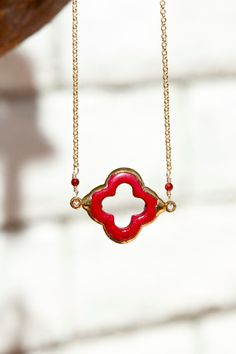 Red coral clover necklace by PanachebyAmanda on Etsy, $36.20