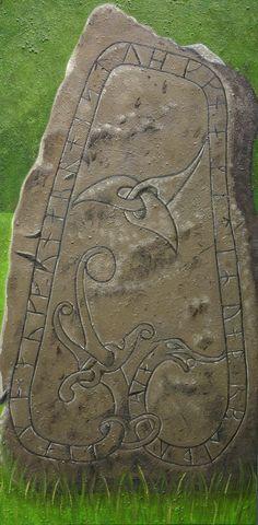Viking Rune Stone painting by Kathleen Scott